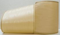 Kranzband-Moiré beige - Goldrand mit schwarzem Faden