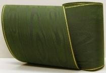 Kranzband-Moiré dunkelgrün - Goldrand mit schwarzem Faden